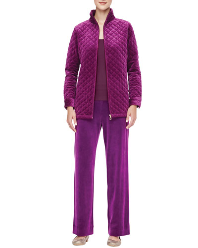 Classic Quilted Velour Jacket, Scoop-Neck Tank & Velour Pants, Petite