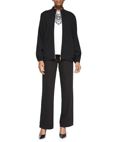 Joan Vass Mock-Neck Zip-Front Jacket, Sequined Sleeveless Shell