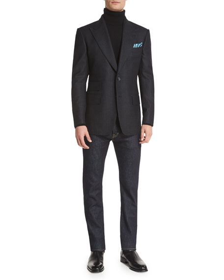 TOM FORD Windsor Base Small-Check Sport Coat, Charcoal