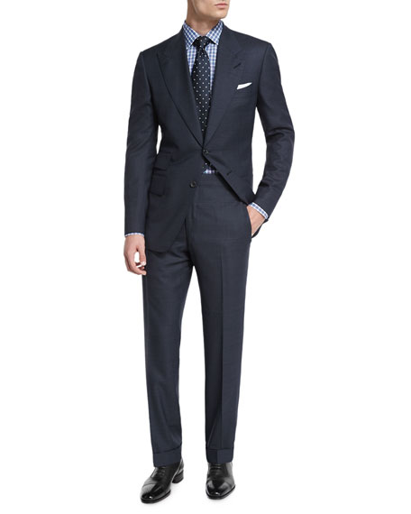 TOM FORD Windsor Base Windowpane Two-Piece Suit, Navy