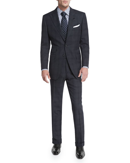 TOM FORD O'Connor Base Windowpane Two-Piece Suit, Charcoal
