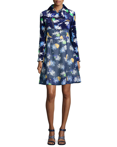 Creatures of the Wind Floral-Print Cropped Moto Jacket,