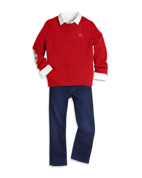 Burberry Cashmere Durham Pullover Sweater w/ Elbow Patches,