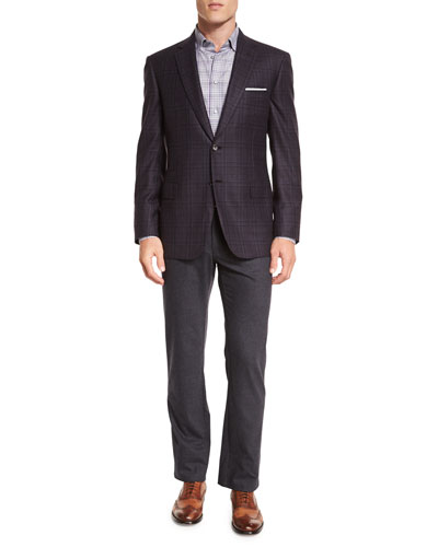 Plaid Two-Button Jacket, Check Long-Sleeve Sport Shirt & Five-Pocket Cashmere-Blend Trousers