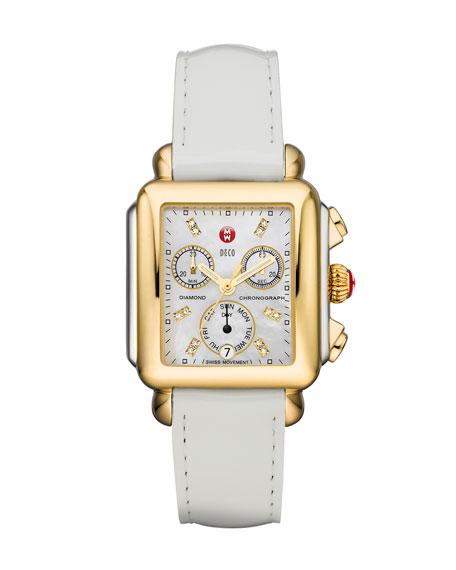MICHELE 18mm Patent Watch Strap, White