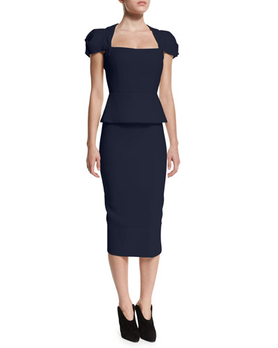 Galaxy Cap-Sleeve Peplum Top & Galaxy Fitted Pencil Skirt