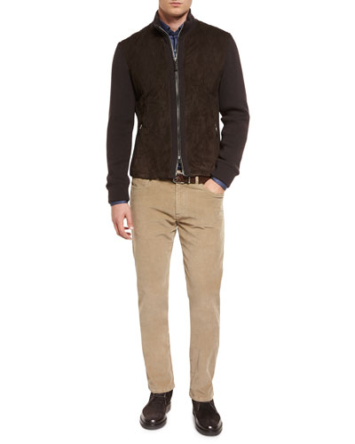 Quilted Suede Jacket with Knit Sleeves, Small Dot-Print Long-Sleeve Sport Shirt & Five-Pocket Corduroy Pants
