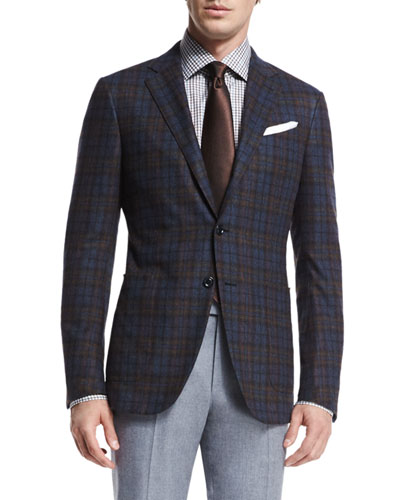 Trofeo Plaid Two-Button Jacket, Check Dress Shirt, Trofeo Wool Flat-Front Trousers & Textured Solid Silk Tie