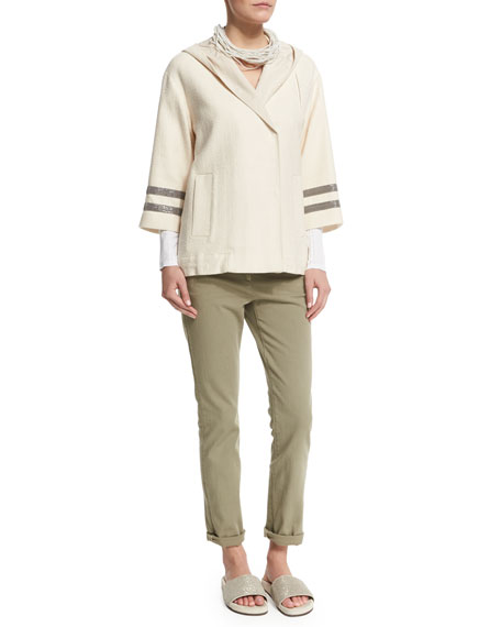 Brunello Cucinelli Hooded Coat W/Monili-Striped Sleeves, Butter