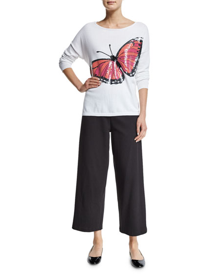 Joan VassLong-Sleeve Sequined Butterfly Sweater