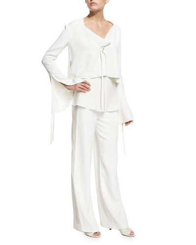 Fluted-Sleeve Cropped Jacket & Wide-Leg Flat-Front Tuxedo Pants, Ivory