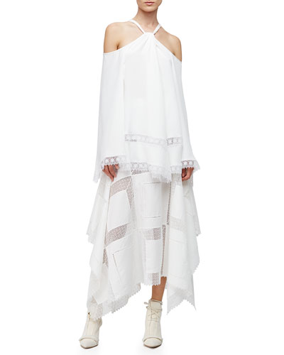 Cold-Shoulder Caftan Blouse & A-Line Lace-Inset Handkerchief Skirt, White