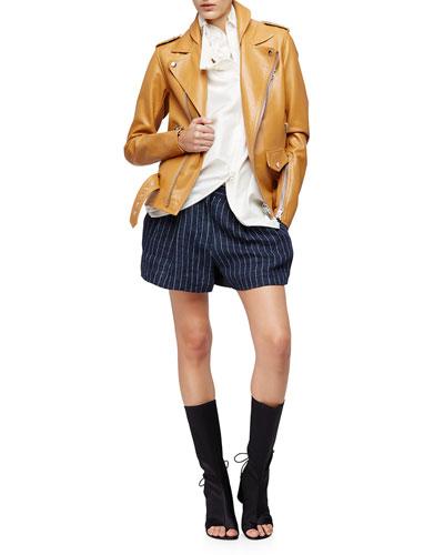 Leather Biker Jacket & Linen Pinstripe Utility Shorts