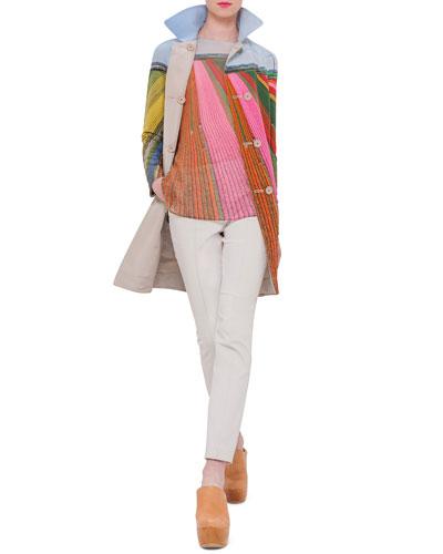 Reversible Button-Front Long Coat, Sleeveless Bateau-Neck Printed Tunic & Melissa Slim-Leg Pants