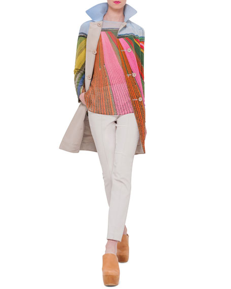 AkrisReversible Button-Front Long Coat, Ranunculus/Multi Colors