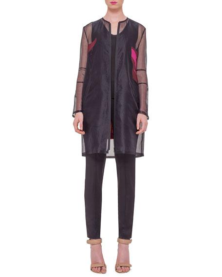 Akris Long-Sleeve Floral-Back Jacket, Schwarz/Multi Colors