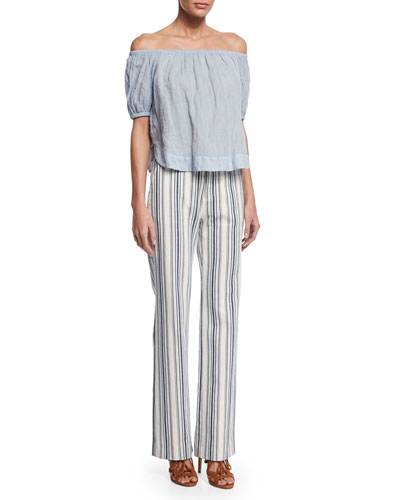 Crinkled Off-the-Shoulder Top & Striped Boot-Cut Trousers