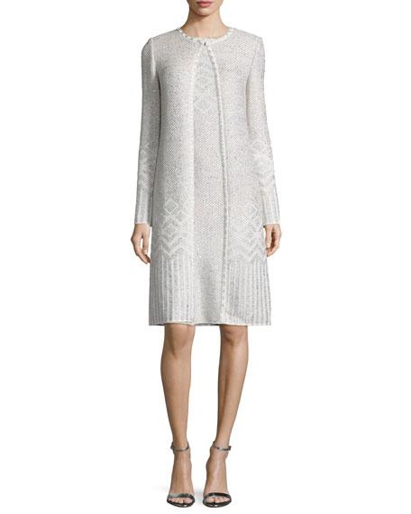 St. John Collection Adara Knit Jewel-Neck Topper Coat,