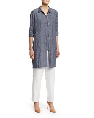 Long-Sleeve Cross-Dye Duster, Sleeveless Cross-Dye Tank & Straight-Leg Lined Linen Pants