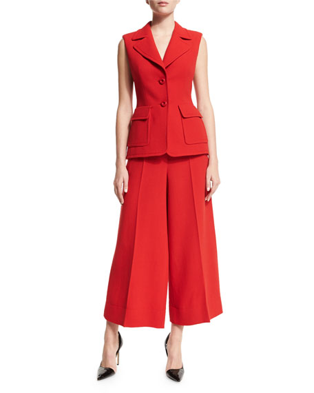 Escada Sleeveless Two-Button Jacket, Cherry