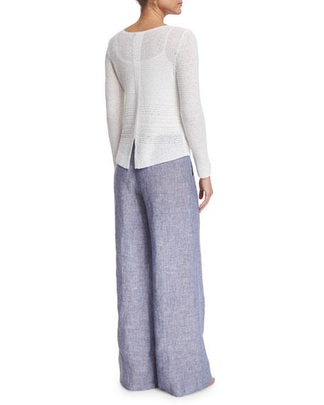 Drifty Linen Wide-Leg Pants, Indigo Mix, Plus Size