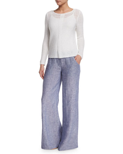 Long-Sleeve Sheer Illusion Top & Drifty Linen Pants, Plus Size