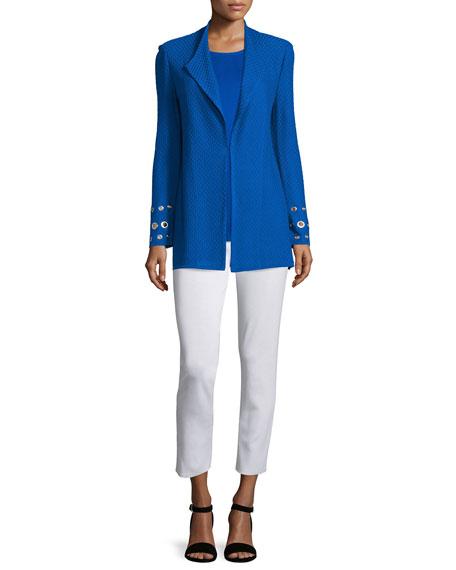 MisookLong Knit Jacket with Grommet Detail, Plus Size