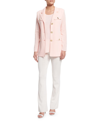 Dressed Up Button-Front Jacket, Round Sleeveless Tank & Boot-Cut Knit Pants, Petite