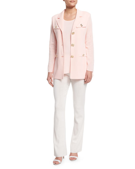 Misook Dressed Up Button-Front Jacket, Rose Water, Petite