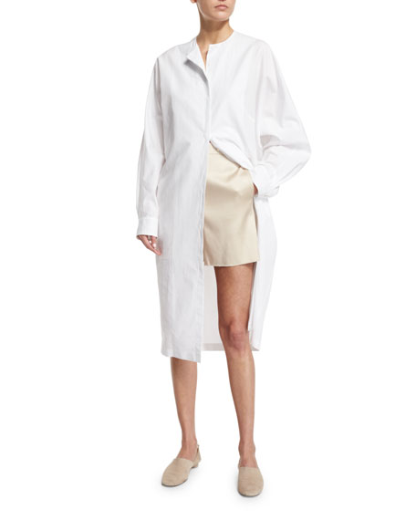 THE ROW Batcan Long-Sleeve Shirtdress, White
