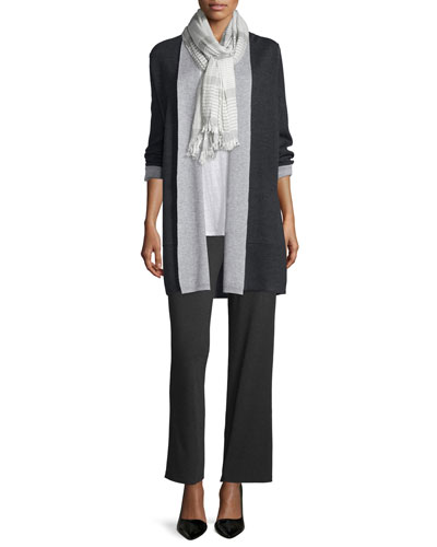 Long Double-Knit Merino Cardigan, Linen Jersey Long Tank, Crinkle-Stripe Modal/Wool Scarf & Straight-Leg Stretch Pants, Women's