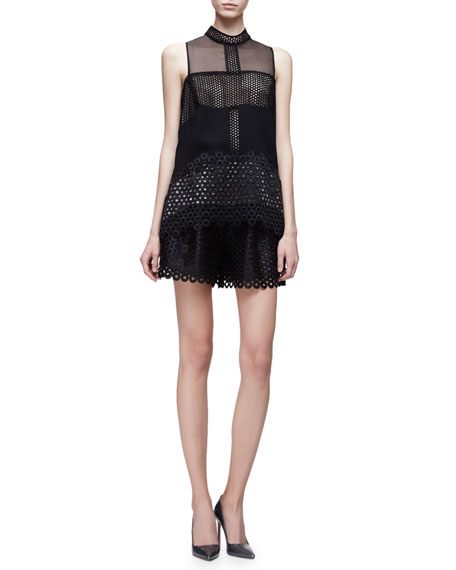 Lela Rose Sleeveless Circle-Lace Top, Black