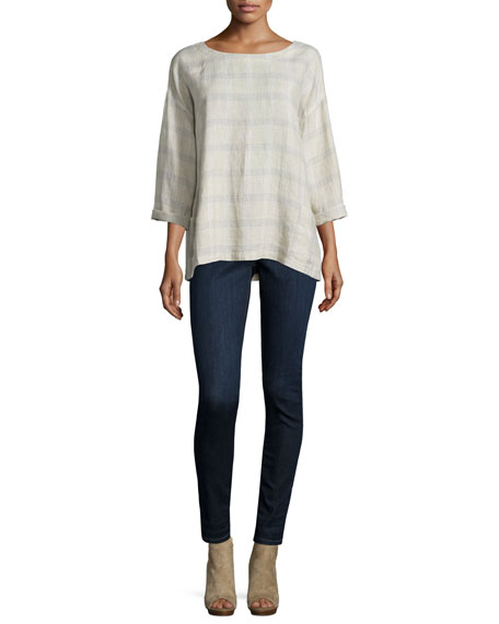 Eileen Fisher 3/4-Sleeve Catalan Plaid Top, Natural