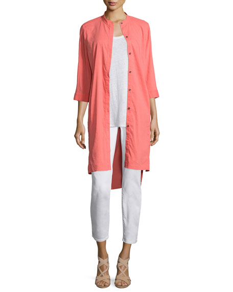 Eileen Fisher 3/4-Sleeve Linen-Blend High-Low Dress