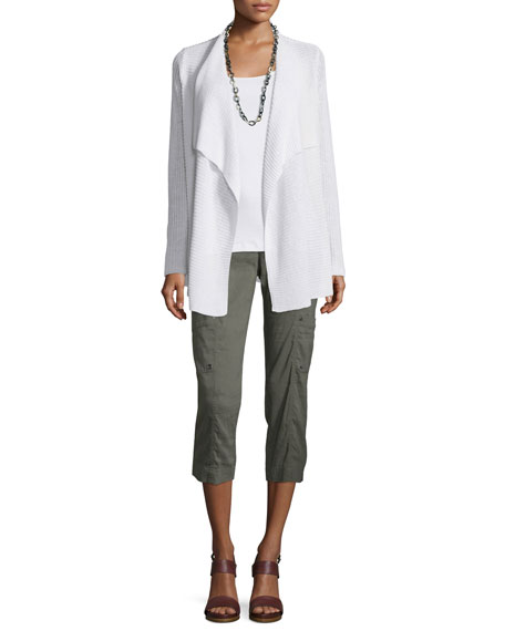 Eileen Fisher Ribbed Drape-Front Cardigan