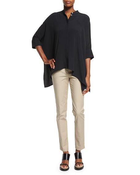 Michael Kors Collection Short-Sleeve Draped Blouse, Black