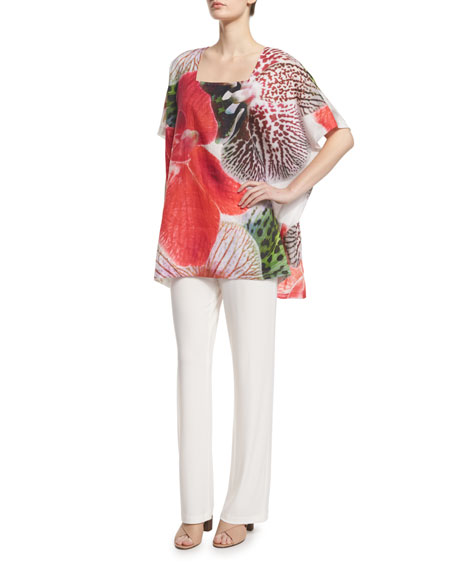 Short-Sleeve Tropical Orchid-Print Caftan