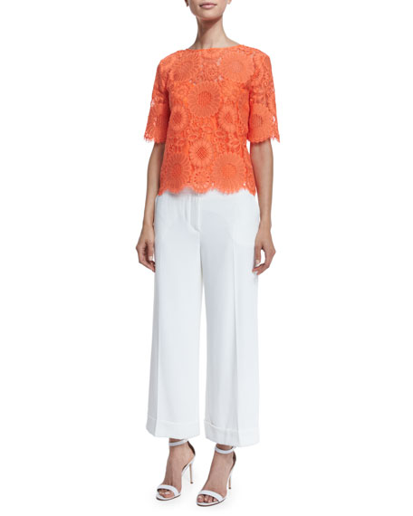 Trina TurkShort-Sleeve Floral Lace Top