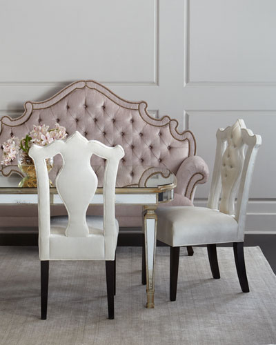 William Dining Chair, Daniella Tufted Banquette, & Eliza Antiqued Mirrored Dining Table