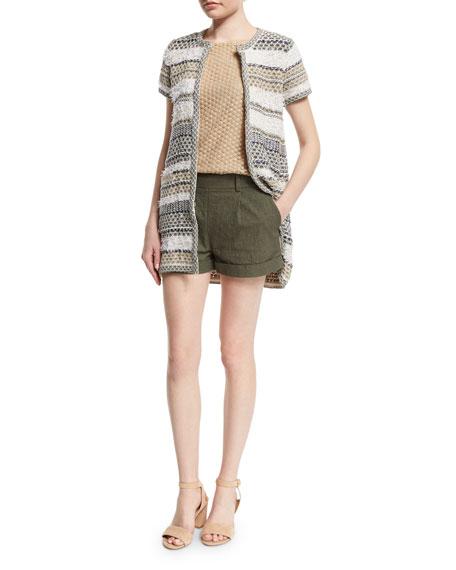 Diane von Furstenberg Gillian High-Rise Woven Shorts, Deep