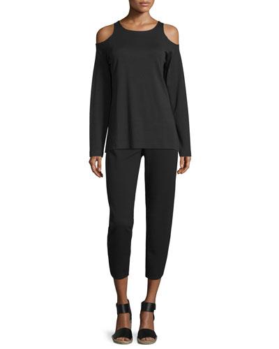 Cold-Shoulder Long-Sleeve Top & Ponte Ankle Pants