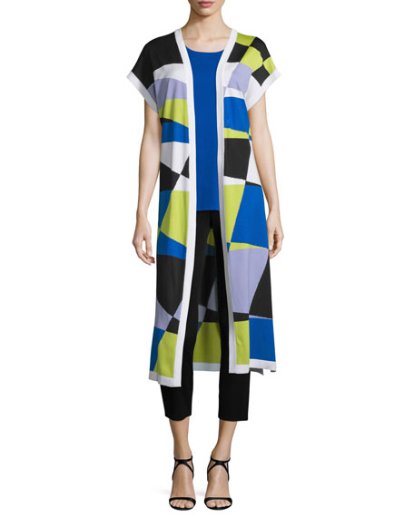 Misook Short-Sleeve Graphic Duster, Periwinkle/Blue
