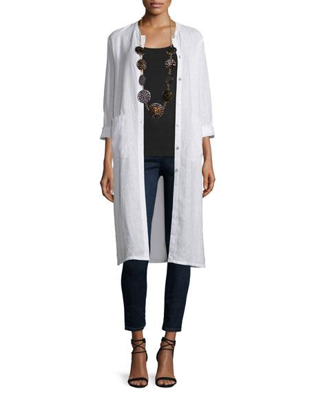 Eileen Fisher Long Organic Linen Jacket, Plus Size