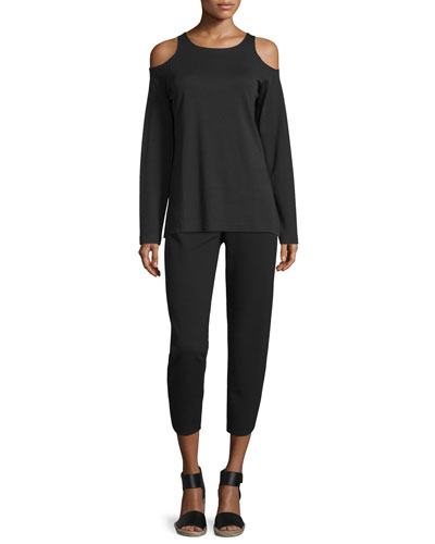 Cold-Shoulder Long-Sleeve Top & Ponte Ankle Pants, Plus Size