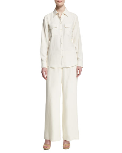 Safari Long-Sleeve Silk Shirt & Silk Wide-Leg Pants, Petite