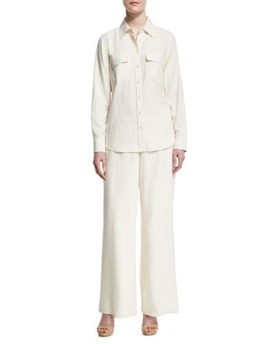 Safari Long-Sleeve Silk Shirt & Silk Wide-Leg Pants, Plus Size