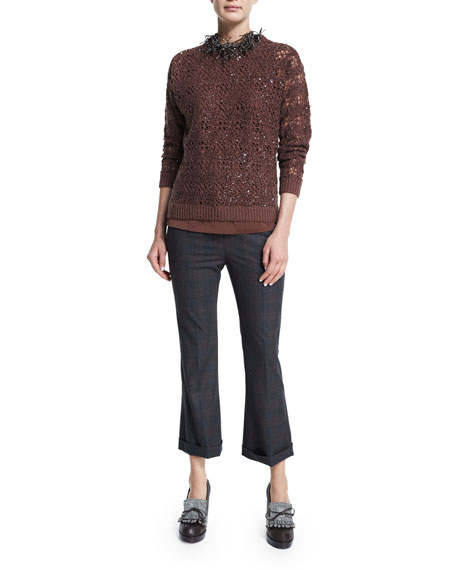 Embellished-Crochet Jewel-Neck Sweater, Henna