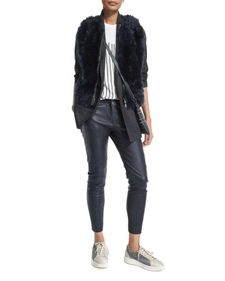 Brunello Cucinelli Reversible Zip-Front Fur Vest, Navy