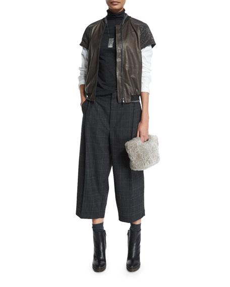 Brunello Cucinelli Monili-Embellished Cap-Sleeve Jacket, Graphite