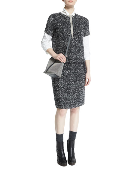 Brunello Cucinelli Short-Sleeve Embroidered Knit Dress, Onyx